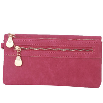 Yingwei High Quality Ladies PU Leather Wallet Portable Purse Rose Red