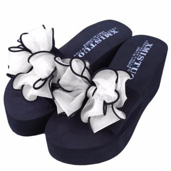 YingWei Lady Wedge Slipper Butterfly Flower Beach Shoes High HeelSandals (White) - intl - 4