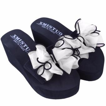 YingWei Lady Wedge Slipper Butterfly Flower Beach Shoes High HeelSandals (White) - intl - 2