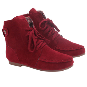 Yingwei Women Fashion Flat Ankle Boots Iron Red