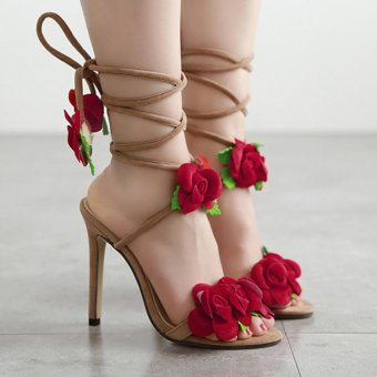 YingWei Women New Fine with Roman Cross Wind Belt Sexy BeachSandals Comfortable Roses Crossed High Heels(Apricot) - intl - 4