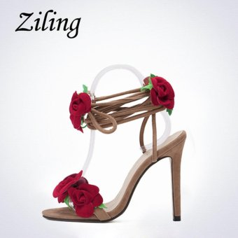 YingWei Women New Fine with Roman Cross Wind Belt Sexy BeachSandals Comfortable Roses Crossed High Heels(Apricot) - intl - 5