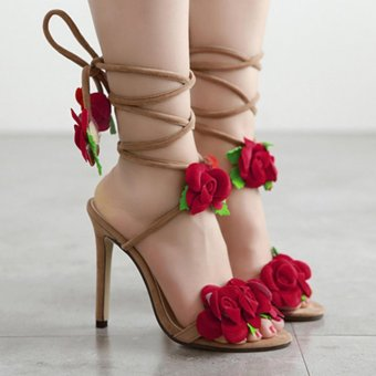 YingWei Women New Fine with Roman Cross Wind Belt Sexy BeachSandals Comfortable Roses Crossed High Heels(Apricot) - intl - 3