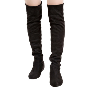 YingWei Women Winter Boots Anti-Skidding Inner Heighten Flat Bottom High Knee Long Boots Black