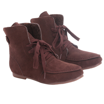 Yingwei Women Winter Cotton Flat Short Boots Brown - 2