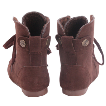 Yingwei Women Winter Cotton Flat Short Boots Brown - 3