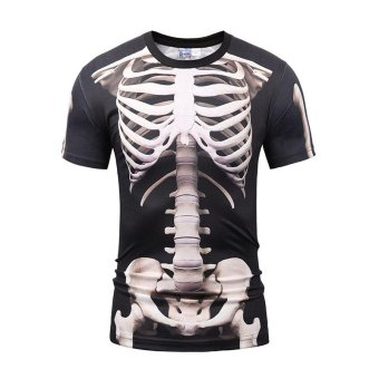YLM 3D Skeleton T-shirt 2017 new Fashion Men/women Funny print CoolSkull T shirt Casual Hip Hop Summer Tops Tees - intl