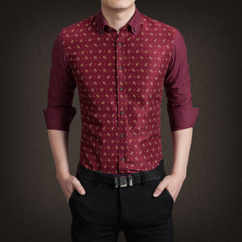 YMV Men's Korean-style Business Long Sleeve Solid Color Shirt (B01)