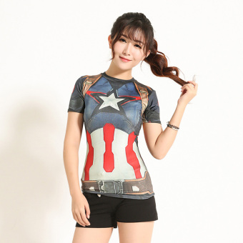 Yoga training stretch short sleeved t-shirt sports workout clothes (Captain America) (Captain America)
