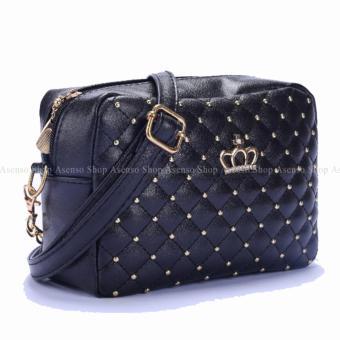 Yogodins Women's Black Crown Brooch Design Chain Strap MessengerBag - 2