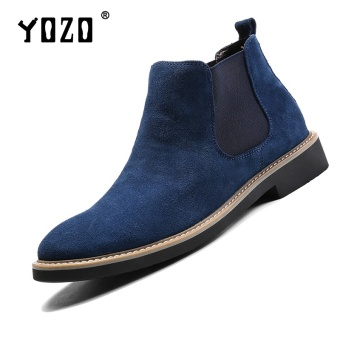 Yozo Men'S Shoes Chelsea Boots Genuine Leather Formal Fashion Shoes Slip On Men'S Shoes(Blue) - intl