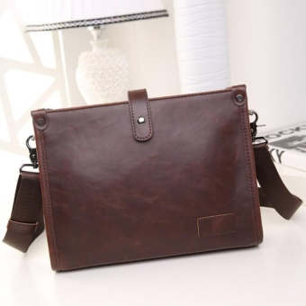 YSLMY Fashion Men's Leather Business Briefcase Shoulder Bag Handbag Business Messenger Brown - intl