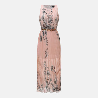 Zanzea 2016 Fashion New Summer Plus Size Women Dress O Neck Floral Print Chiffon Maxi Long Dres s Elegant Beach Party Vestidos With Belt Pink - Intl
