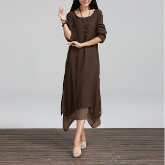 ZANZEA 2017 New Fashion Cotton Linen Vintage Dress Women Casual Loose O Neck Boho Long Maxi Dresses Plus Size Vestidos Coffee