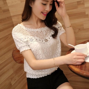 ZANZEA 2017 Sexy Ladies Short Sleeve Casual Embroidery Hollow Lace Tops T Shirt Blouse White