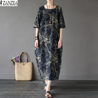 ZANZEA 2017 Womens Boho Floral Printed Short Sleeve Cotton Linen Maxi Long Dress Loose Baggy Casual Kaftan Vestido Plus Size (Navy) - intl