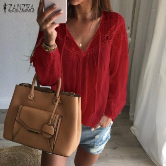ZANZEA Autumn Shirts 2017 Women Casual Loose Patchwork Lace Crochet Blouses V Neck Long Sleeve Tee Tops S-5XL (Wine Red) - intl