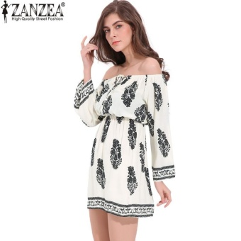 ZANZEA Boho Floral Print Summer Slash Neck Flare Sleeve Womens Loose Long Sleeve Rayon Mini Dress Beach Vestidos Plus Size (Off White) - intl
