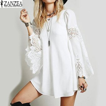 ZANZEA Fashion Womens O-neck Lace Crochet Hollow Vestido Ladies Long Sleeve Loose Party Casual Mini Shirt Dress (Off White) -intl