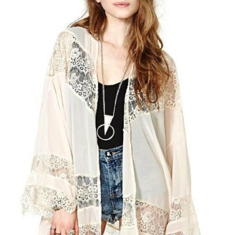 ZANZEA Ladies Bohemian Chiffon Kimono Lace Crochet Flower Long Loose Cardigan (Beige) - intl