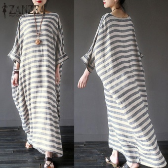 ZANZEA New Arrival Autumn Dress Women Striped Dress Casual Loose O Neck Batwing Sleeve Maxi Long Dresses Vestidos Plus Size - intl