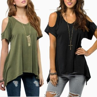 Zanzea Off Shoulder Short Sleeve Blouse (Black) - 2