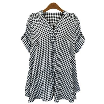 Zanzea Plus Women's Loose Casual Check 3/4 Sleeve V Neck Casual Top Blouse Shirt Black Price Philippines