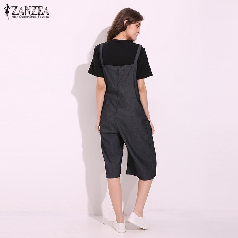 a2a18401387 ... ZANZEA Rompers Womens Jumpsuit Summer Autumn Sleeveless Fashion Wide  Leg Pants Denim Calf Length Vintage Overalls ...