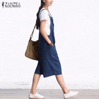 ZANZEA Rompers Womens Jumpsuit Summer Autumn Sleeveless Fashion Wide Leg Pants Denim Calf Length Vintage Overalls S-5XL - intl - 4
