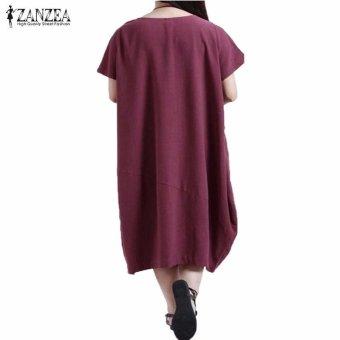 ZANZEA Summer Womens Solid Dress Casual Loose Plus Size S-5XL ShortSleeve O-Neck Dresses Vestidos (Claret) - intl - 3
