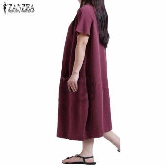 ZANZEA Summer Womens Solid Dress Casual Loose Plus Size S-5XL ShortSleeve O-Neck Dresses Vestidos (Claret) - intl - 2