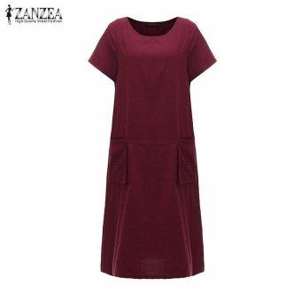 ZANZEA Summer Womens Solid Dress Casual Loose Plus Size S-5XL ShortSleeve O-Neck Dresses Vestidos (Claret) - intl - 4