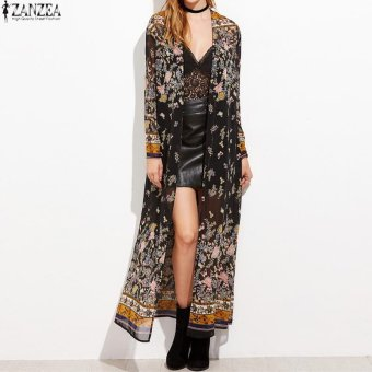 ZANZEA Vintage Womens Long Sleeve Boho Floral Printed Chiffon Kimono V-Neck Summer Beach Maxi Long Jacket Cardigan Tops - intl