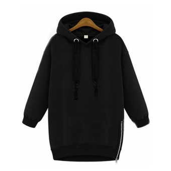 ZANZEA Winter Autumn 2016 Zanzea Fashion Women Long Sleeve Hooded Jacket Loose Warm Sport Hoodies Solid Sweatshirt Plus Size 3 Colors Black - intl