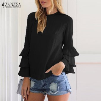 ZANZEA Women Blouses Ladies O-Neck Flounce Long Sleeve Solid Blusas Casual Loose Tops Plus Size (Black) - intl