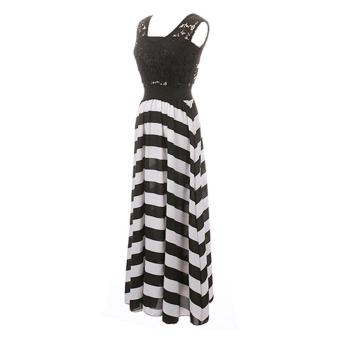 ZANZEA Women Boho Lace Long Maxi Party Dress Beach Chiffon Stripe Dresses Black and White-Intl - 4