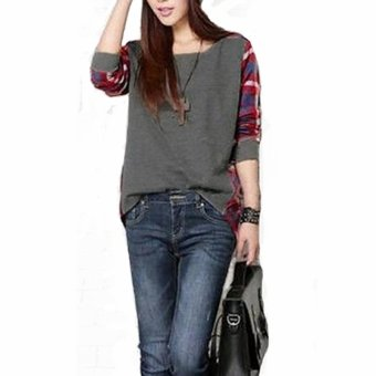 Zanzea Women Casual Long Sleeve Round Neck Check Plaid Casual Loose Tops Shirt Blouse Grey