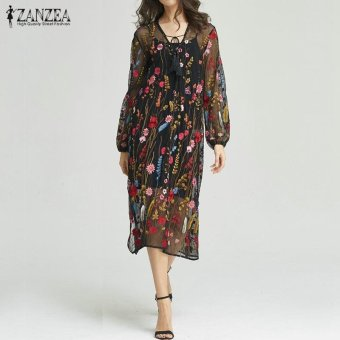 ZANZEA Women Fashion Floral Embroidery See Through Loose Dress PuffSleeve Elegant Lace Up Dresses Vestidos Plus Size - intl