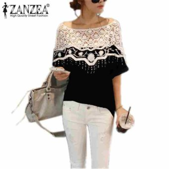 Zanzea Women Lace Shawl Neck Causal Shirt Blouse Black 5XL