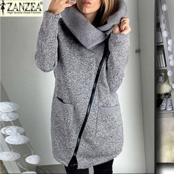 ZANZEA Women Long Hoodies Sweatshirts Loose Casual Long Sleeve Zipper Solid Hooded Outwear Tops Female Fleece Jacket Coats (Grey) - intl