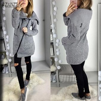 ZANZEA Women Long Hoodies Sweatshirts Loose Casual Long Sleeve Zipper Solid Hooded Outwear Tops Female Fleece Jacket Coats (Grey) - intl - 2