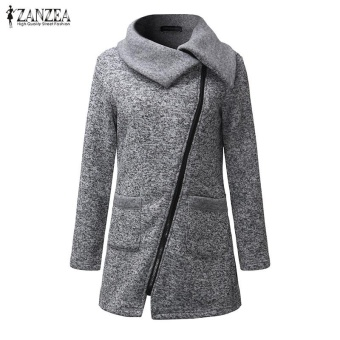 ZANZEA Women Long Hoodies Sweatshirts Loose Casual Long Sleeve Zipper Solid Hooded Outwear Tops Female Fleece Jacket Coats (Grey) - intl - 3