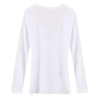Zanzea Women Long Sleeve V Neck Slim Casual Sexy Tops White - picture 2