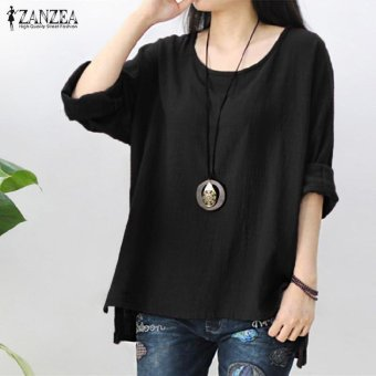 ZANZEA Women Round Neck Oversized T-Shirt Loose Blouse Pullover Tops Jumper Plus Size (Black) - intl