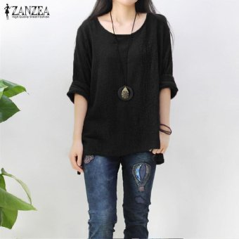 ZANZEA Women Round Neck Oversized T-Shirt Loose Blouse Pullover Tops Jumper Plus Size (Black) - intl - 4