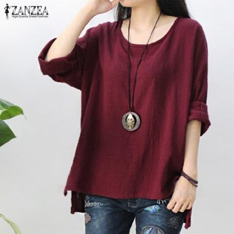 ZANZEA Women Round Neck Oversized T-Shirt Loose Blouse Pullover Tops Jumper Plus Size (Wine Red) - intl - 2