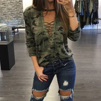 ZANZEA Women Sexy Blouses Shirts Ladies Long Sleeve Hollow Out Lace Up V Neck Blusas Casual Fashion Camouflage Print Tops - intl