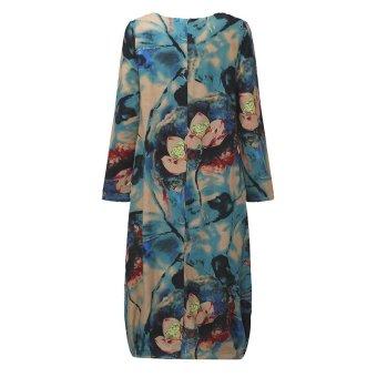 ZANZEA Women Vintage Long Maxi Dress Casual Loose O-Neck Long Sleeve Floral Print Dresses Elegant Plus Size (Blue) - intl - 5