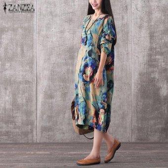 ZANZEA Women Vintage Long Maxi Dress Casual Loose O-Neck Long Sleeve Floral Print Dresses Elegant Plus Size (Blue) - intl - 2