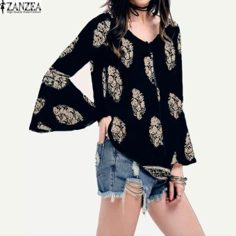 ZANZEA Womens Lace-Up V-Neck Shirt Oversized Boho Floral PrintFlare Sleeve Casual Loose Blouse Tops (Navy) - intl Price Philippines
